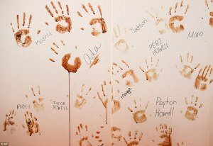 Photo of handprints in snake blood at Sweetwater's Rattlesnake Roundup via Daily Mail